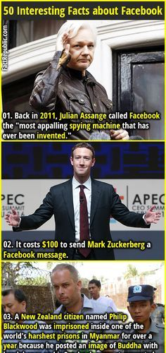 "1. Back in 2011, Julian Assange called Facebook the ""most appalling spying machine that has ever been invented."" 2. It costs $100 to send Mark Zuckerberg a Facebook message."