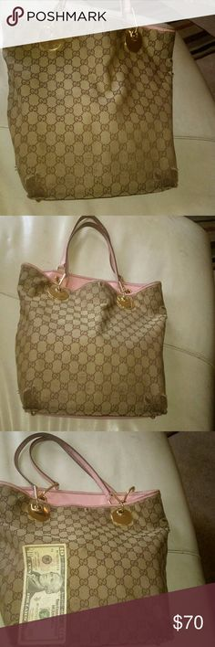 """Authentic Gucci tote *LAST PRICE DROP!* Great quality, worn on all four corners and a few other spots. Strap color worn as well. H-12"""" top 14"""" bottom 9"""" Gucci Bags Totes"""