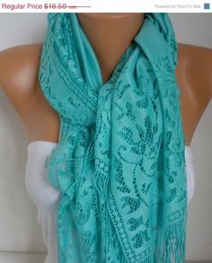 Mint Tulle Scarf Spring Summer Scarf Mother's Day Gift by fatwoman