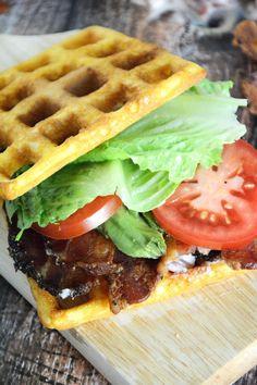 Cornbread Waffle BLT's with Garlic Aioli  are crispy and sweet cornbread waffles, layered with smoky bacon, fresh lettuce, creamy avocado and garlic aioli for a delicious twist on the classic BLT!