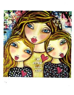 My Heart and Soul  motherhood Fine Art Print of Mixed Media painting. $20.00, via Etsy.