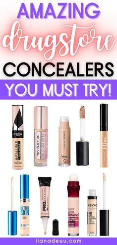The best drugstore concealers to cover dark circles, blemishes, hyperpigmentation, and dark spots. Check out these affordable drugstore concealers you must try! Each under $15! #drugstore #makeup #concealer Beste Concealer, Best Drugstore Concealer, Drugstore Foundation, Makeup Foundation, Makeup To Buy, Makeup Kit, Cheap Makeup, Candy Makeup, Makeup Tricks