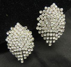 Vintage Rhinestone Earrings Designer Waterfall Chandelier Bride Wedding Crystal