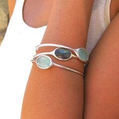 Gemstone Bangle Chalcedony Bracelet by EllaTaylorDesign on Etsy