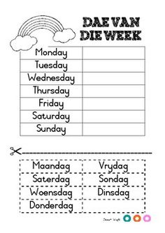 Days of the week in Afrikaans Teaching Resources & Lesson Plans Preschool Learning Activities, Preschool Worksheets, Teaching Kids, Book Activities, Teaching Resources, Quotes Dream, Life Quotes Love, Robert Kiyosaki, Napoleon Hill