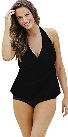 Shore Club Womens Plus Size Black Plain Front Halter Tankini