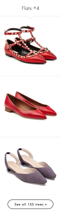 """Flats #4"" by banana-lee ❤ liked on Polyvore featuring shoes, flats, red, red pointy toe flats, leather flats, pointed-toe ankle-strap flats, red flat shoes, pointy-toe flats, evening flats and leather pointed toe flats"