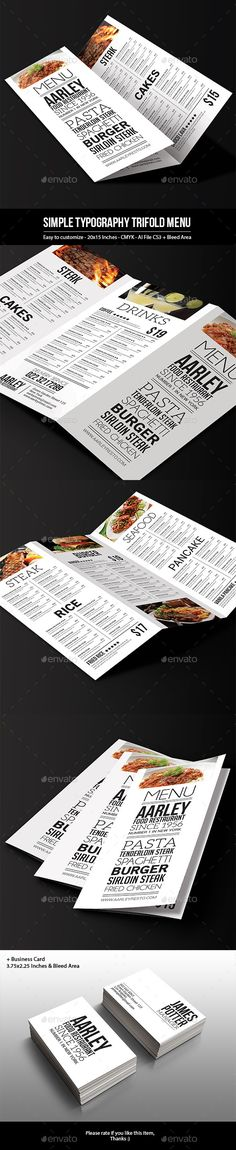 Simple Typography Trifold Menu - Food Menus Print Templates