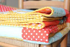 Wonderfully simple patchwork quilt in bright, happy colors.  By Randi (Fresh Squeezed Fabrics).