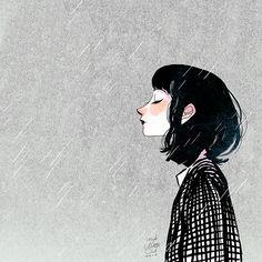 El pequeño óleo del arte - si la lluvia no se detiene ..
