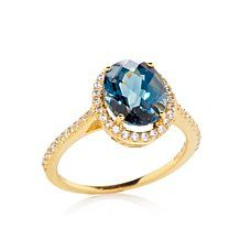 Rarities 10K London Blue Topaz and White Zircon Ring