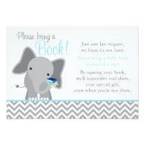 Cute Elephant Chevron Light Blue Baby Shower Book Card
