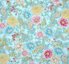 Love C2767-Aqua, fabric designer Chong-a Hwang. blue, pink, gold, ivory, light green, white #color