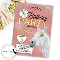 Cowgirl / White Horse / Horseback Riding Birthday Party Invitation by socalcrafty. Printed or Printable. $16+