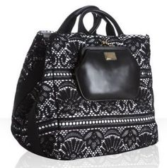 ShopStyle: Dolce & Gabbana black leather and Sicily lace large tote