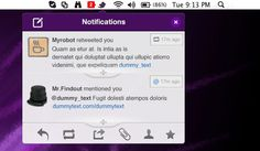 Menu bar Twitter notifications interface free PSD