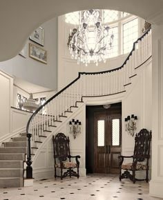 luxe interiors photos | Sumptuous stair treads carpet in Entry Traditional with Foyer With ...