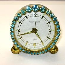 Vintage Phinney Walker Blue Rhinestone Alarm Clock - available in our shop The Vintage Jewelry Boutique on Ruby Lane Old Clocks, Vintage Clocks, Alarm Clocks, Ring Watch, Bracelet Watch, Cute Clock, Clock Art, Gift Of Time, Telling Time