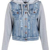 jean jacket with gray sleeves and hood