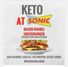 Eat Carbohydrates and Lose Weight - Keto at Sonic. Keto tips and tricks. Eat Carbohydrates and Lose Weight - Now You Can Get the Lean Body You Have Always Desired. Without Avoiding Carbs or Starving Yourself to Death. Keto Food List, Keto Foods, Paleo Diet, Fast Foods, Keto Meal, Keto Snacks, Food Lists, Keto Fastfood, Keto Fast Food Options