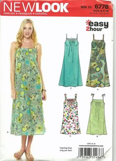 Uncut, Size 6-16, Easy 2 hour Sewing Pattern, New Look 6778, Dress Sundress, Summer, size 6, 8, 10, 12, 14, 16, gathered bust, loose fitting