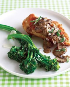 Marsala Chicken with Sage and Cremini Mushrooms -- Our lightened-up version of a chicken standby has all the intensity of the original. To preserve mushrooms' earthiness, wipe them clean with a damp paper towel instead of rinsing. To showcase their shape, slice through the stem.