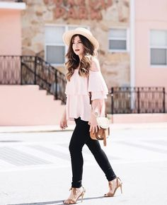 Pretty in Pink   @studsandsapphires looking darling in the Bombshell Skinny in Noir   Shop this style @zappos #theperfectfit