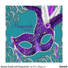 """Elegant Purple and Turquoise Blue Masquerade Party Card Beautiful purple feather mask silver and turquoise blue masquerade party invitation. This elegant teal blue and purple masquerade party invitation is easily customized for your event by simply choosing the """"Customize it!"""" button to begin adding your event details, font style, font size & color, and wording. Please note - all of the card and invitation designs you will find on Zazzle are printed graphics with no actual jewels, bows…"""