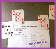 Middle School Math Moments (and more!): Playing Exponent War