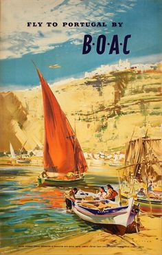 Pacifica Island Art Fly to Portugal - by BOAC (British Overseas Airways Corporation) - Vintage Airline Travel Poster by Frank Wootton x Vintage Tin Sign Travel Ads, Airline Travel, Travel Photos, Portugal, British Airline, Retro Poster, Vintage Travel Posters, Vintage Airline, Vintage Ski