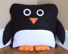 Penguin Pillow from 3 Silly Monkeys on Etsy.  14x14 pillow made from soft fleece.  $20.00