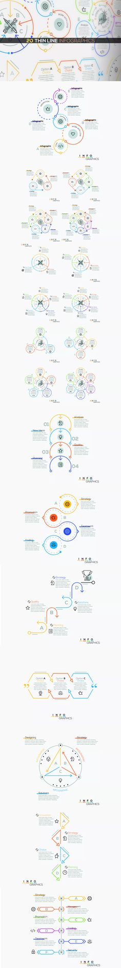 20 Thin Line Infographics Template AI, EPS, PSD