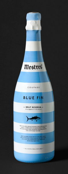 Mestres Coupage Blue Fin - This Mestres Coupage Blue Fin branding by Clase BCN features an elegantly striped and sailor-inspired bottle design. Mestres Coupage Blue Fin is a . Beverage Packaging, Bottle Packaging, Pretty Packaging, Brand Packaging, Wine Label Design, Bottle Design, Tequila, Vodka, Bottle Images
