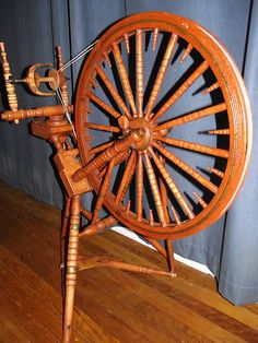 Swedish broken table spinning wheel. Photo and wheel belong to wheelsmith