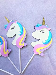 Having a Magical Unicorn Themed party? You have to include these super adorable Unicorn cupcake toppers. The kids will LVOE these!! They are made out of heavy duty card stock so they will last awhile. Unicorns Measure 4.30 Inches from top of horn to bottom of Unicorn (NOT