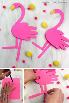 Handprint Flamingo Craft Searching for fun and cute girls craft? This handprint flamingo craft is easy, girly and perfect fo Craft Work For Kids, Summer Crafts For Toddlers, Craft Activities For Kids, Toddler Crafts, Preschool Crafts, Art For Kids, Summer Activities, Family Activities, Little Girl Crafts