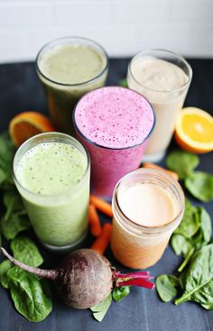Today we're talking about breakfast smoothies. But these aren't just any breakfast smoothies. Each of these incorporates some vegetables and protein into the mix. Lately it's been a goal of mine to st