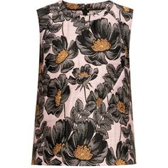 Marni Floral-jacquard sleeveless top ($825) ❤ liked on Polyvore featuring tops, floral print top, black floral tank top, floral tank top, black tank top and black sleeveless top