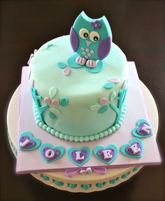 Purple & Teal Owl Cake