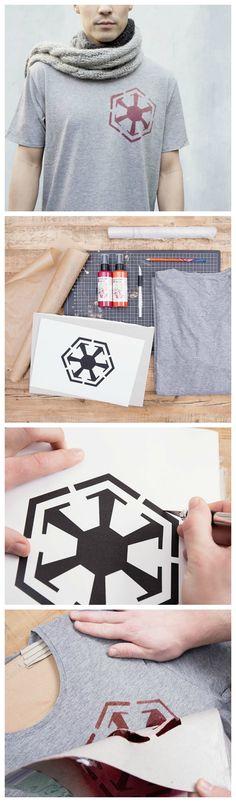 Kostenlose Anleitung: T-Shirt der Star Wars Sith bedrucken / free star wars diy: how to make a Sith shirt, stamp via DaWanda.com