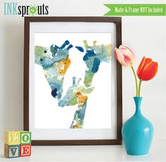 Watercolor Giraffe Family Print Watercolor by InkSprouts on Etsy