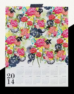 MICHELLA 2014 large canvas wall calendar with watercolor floral