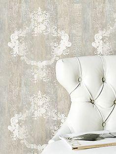 Vlies-Tapete-46520-Antik-Holz-Ornament-beige-grau-Royal-Wood-Design-Elements