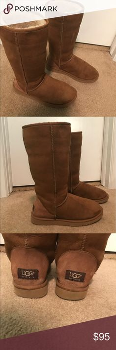 UGG Boots Tall UGG boots in really good condition. Only worn a few times! These are a great staple piece to have in your closet. You can fold them down or wear them normally! Both ways are adorable! Very soft, warm, and comfortable boots. They can fit a variety of sizes. UGG Shoes Winter & Rain Boots