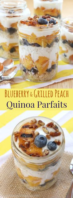 Blueberry & Grilled Peach Quinoa Parfaits - a healthy breakfast, snack or dessert recipe with sweet summer fruit and Greek yogurt! Gluten free too! | cupcakesandkalechips.com