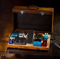 Salvage Custom Pedalboards and cases in use on stage.