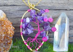 Pink Amethyst Tree of Life Necklace- handmade rustic wire wrapped brass nature energy purple gemstone pendant jewelry