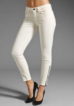 J BRAND CREAMY WHITE CORDUROY ANKLE BLACK SIDE ZIP SKINNY PANTS JEANS 25 CORDS #JBrand #SlimSkinny