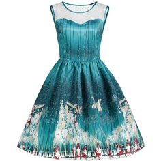 Green 2xl Christmas Print Mesh Panel Sleeveless Vintage Dress ($19) ❤ liked on Polyvore featuring dresses, blue dress, christmas pattern dress, vintage print dress, green print dress and christmas dresses