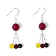 Magenta Agate Enhanced, Black Onyx, Yellow Agate Enhanced Earrings in Sterling Silver 17.160 Ct.